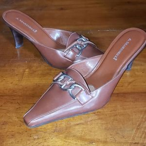 A. Marinelli Lyle II Brown Leather Mules Size 9 M